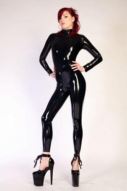 latex catsuit met rugrits
