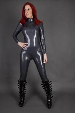 Latex catsuit met 3 weg rits